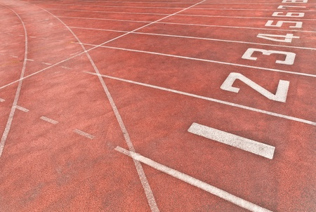 Numbers on the floor at the starting position of the racetrack Stock Photo - 11518891
