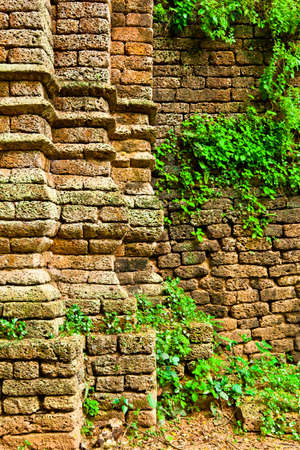 The closeup image of a part of the ruin wall, Sukhothai province, Thailand photo