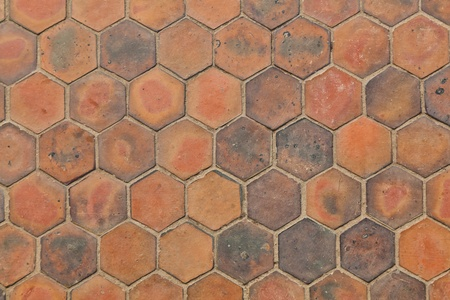 The background image of hexagonal clay tiles Stock Photo