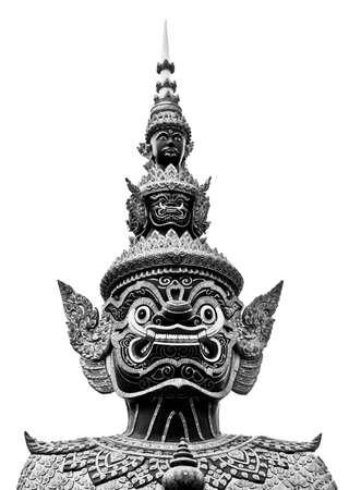 L'image en noir et blanc d'une statue de style tha�landais de Tosakan un personnage g�ant dans le Ramayana Banque d'images