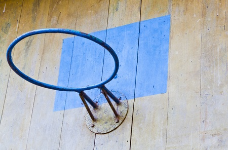 The closeup image of the old basketball hoop and the wooden board photo