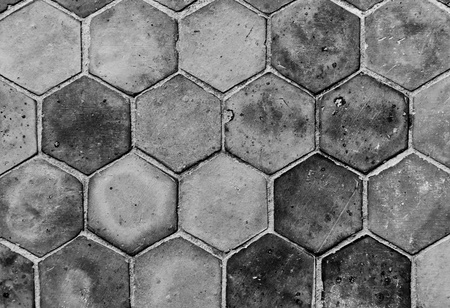 The closeup background image of hexagonal clay tiles