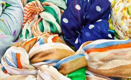 The background image of the colorful scarves Stock Photo