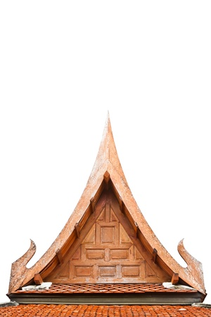 The isolated image of the  detail of the gable of Thai style roof photo