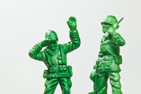 army man: The closeup isolated image of the green toy soldier