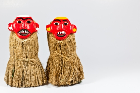 The isolated image of the Laos traditional dolls for the Song Karn festival Banque d'images