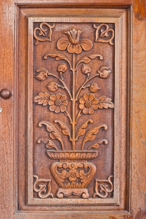The wooden craft on the board shown as a flower in a pot Banque d'images