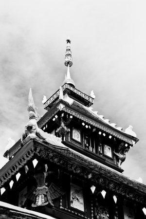 The black and white image of the Viharn in Pongsanuk Temple, Lampang province, Thailand
