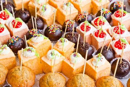 catering food: The closeup image of various yummy cup cakes