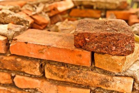 The closeup image of the old brick wall