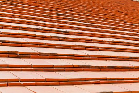 The Red Clay Roof Tiles of a House in the Countryside of Thailand