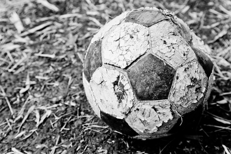 The left old ball on the ground Stock Photo