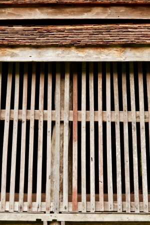 airy: The Airy Wooden Wall of a Lanna Style House, Chiang Mai Province, Thailand Stock Photo