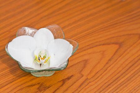 Un Phalaenopsis blanc dans un bol en verre sur la table en bois Banque d'images
