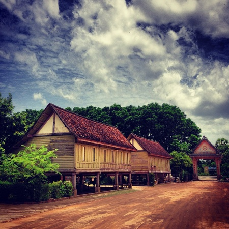 The old wooden houses in a temple Stock Photo