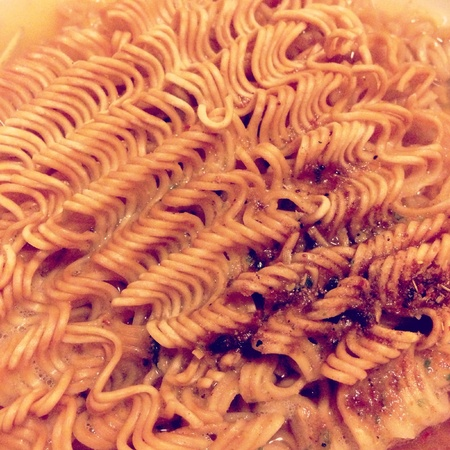 The closeup image of instant noodle