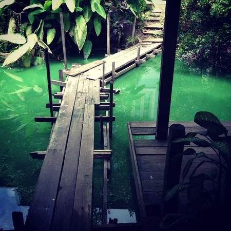 The old small wooden bridge on the green water Stock Photo