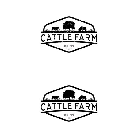 Cattle farm logo design - angus cow farm, beef butcher bbq barbecue, meat product shop organic premium quality. livestock animal logo.