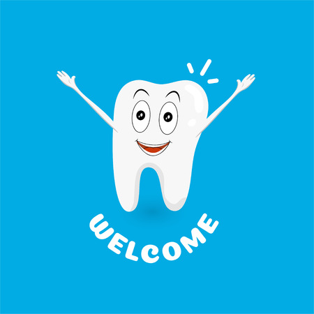 White and healthy tooth welcomes visitors. Happy and healthy smile. Cartoon character hands up. Can be used for posters, banners and other advertising.