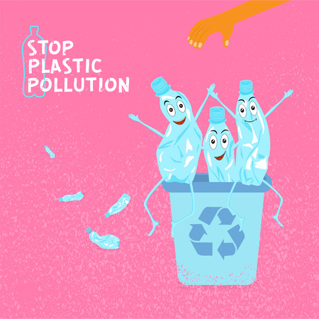 Stop plastic pollution. Ecological concept poster with funny characters from crumpled plastic bottle. Sign recycle garbage. The human hand throws garbage in an urn. Vector illustration.