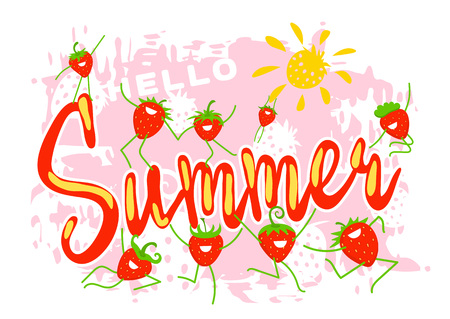 Hello summer. Funny cartoon dynamic strawberry meets summer on a grunge background. Positive characters are suitable for print, posters, celebration of the harvest, banners and other advertising. 向量圖像