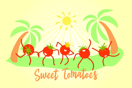 Funny cartoon sweet tomatoes are dancing. Celebration of the harvest, increasing sales of tomatoes concept.Modern flat design. Positive characters are suitable for any advertising.Vector illustration.