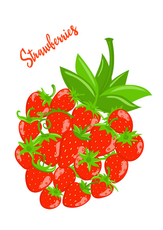 Strawberry vector with leaves. Set of berries on a white background.