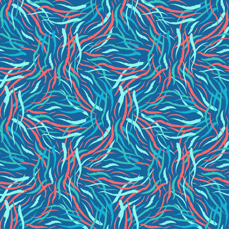 Bright seamless color pattern. Abstract color intertwined shapes, waves.