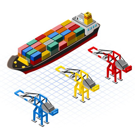This image is a big container ship with container and cranes isometric
