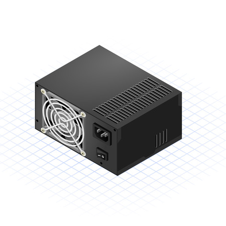 unit: This image is a power supply with front view of fan cooler isometric  Illustration