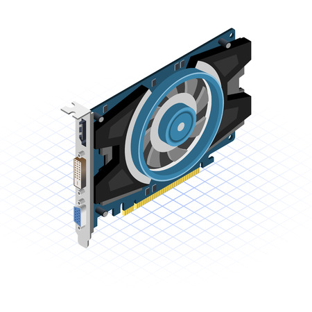 This image is a video graphics array pci express slot isometric