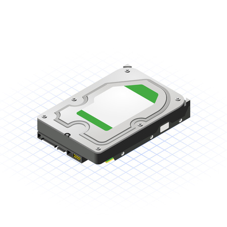 This image is a hard disk 3.5 inch of personal computer with back port view isometric