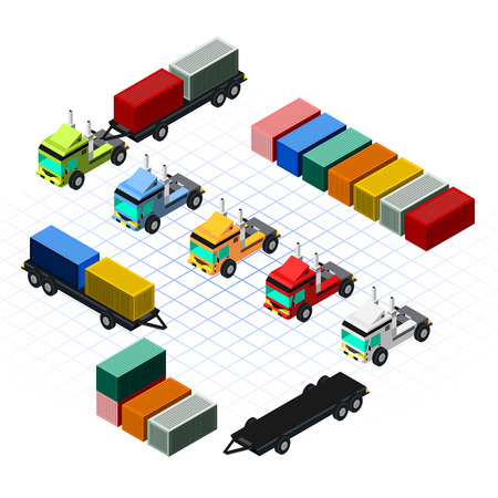 bulk carrier: This image is a truck with container plus some color isometric
