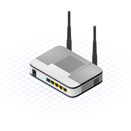 This image is a wireless router with two antenna isometric