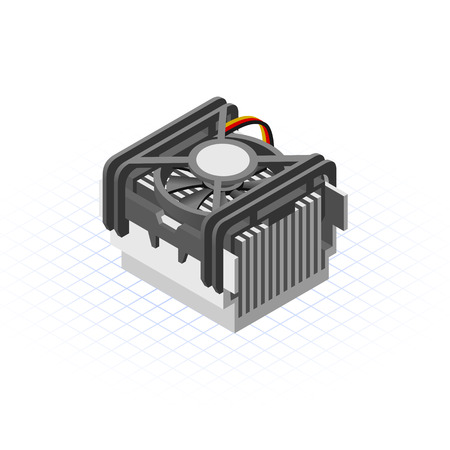 heat sink: This image is a fan of socket lga processor isometric Illustration