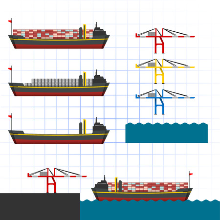 This image is a big container ship and cranes with some of color Illustration