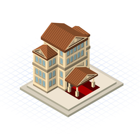 market place: This image is a bank building vector illustration