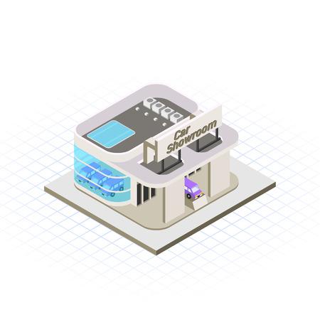 dealership: This image is a modern car showroom building vector illustration