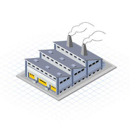 This image is a factory building with smoke vector illustration Çizim