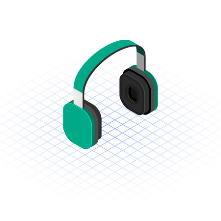bluetooth headset: This image is a green headphone vector illustration