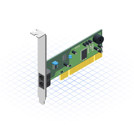 This image is a internal network card of desktop personal computer vector illustration Illustration