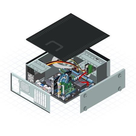 Dit beeld is een personal computer met enkele perifere Vector Illustratie