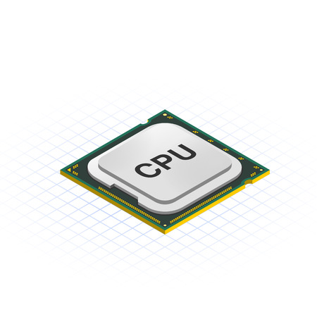 computer chip: This image is a processor of desktop personal computer vector illustration