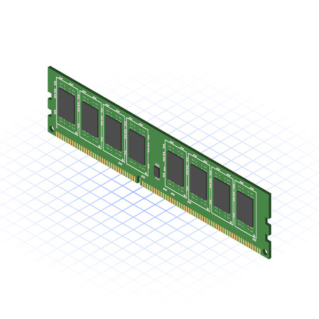 main board: This image is a ddr3 ram of desktop personal computer vector illustration Illustration