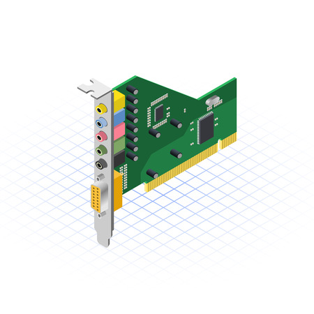 expansion card: This image is a internal sound card of desktop personal computer vector illustration