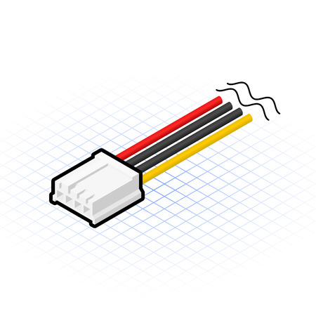 psu: This image is a 4 pin floppy cable connector of power supply in desktop personal computer Illustration