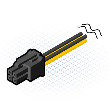 pci: This image is a 4 pin PCIe cable connector of motherboard in desktop personal computer Illustration