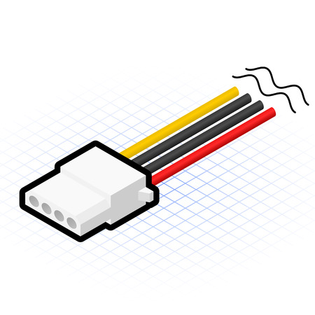 This image is a 4 pin power cable connector of power supply in desktop personal computer Illustration