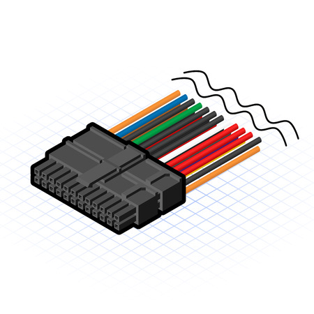 psu: This image is a 24 pin cable connector of power supply in desktop personal computer