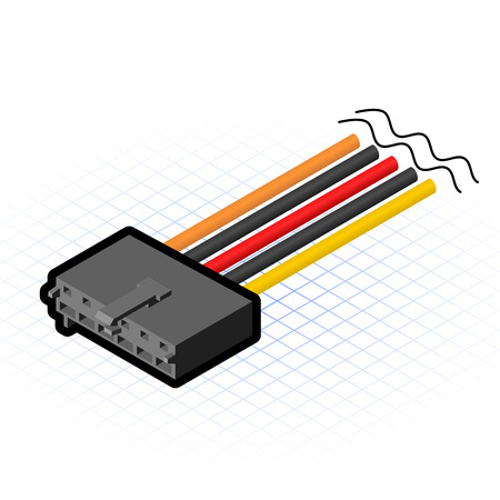 power supply unit: This image is a aux cable connector of motherboard in desktop personal computer Illustration